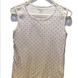 White pink polka dotted t shirt Tee tank top